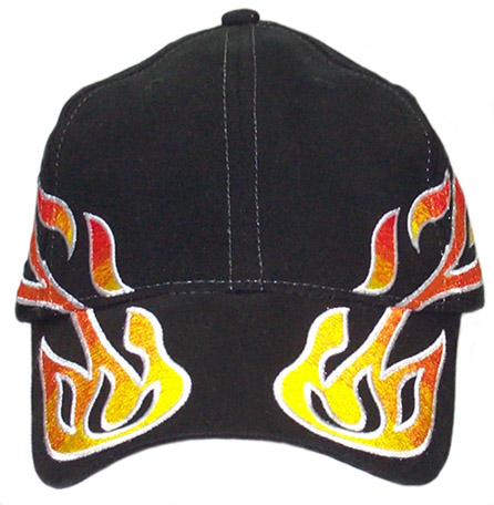 Curved Flames Black Cap