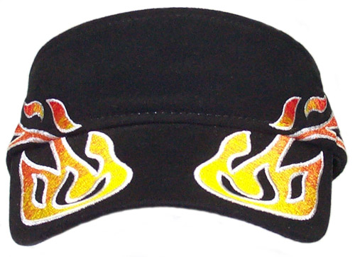 Curved Flames Black Visor