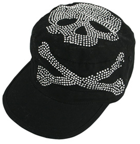 Black Studded Skull & Cross Bones, Cap