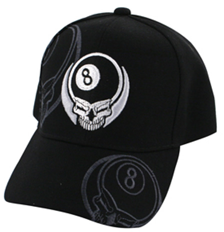 White Skull w 8 Ball, Cap