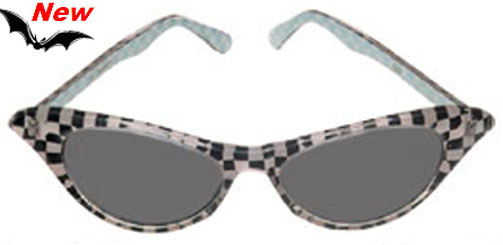 50's Checker Black & White Sunglasses