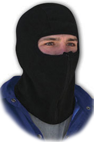 Black Microfleece w/Zipper, Balaclava