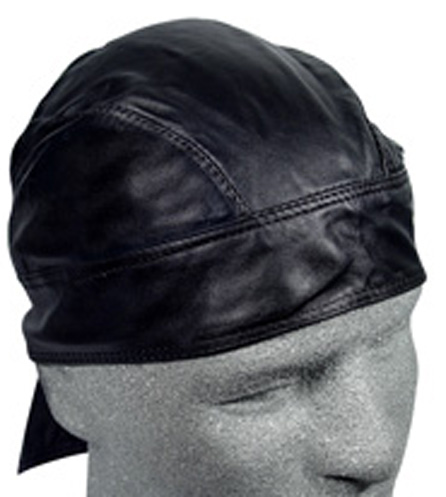 Solid Black, Leather Headwrap