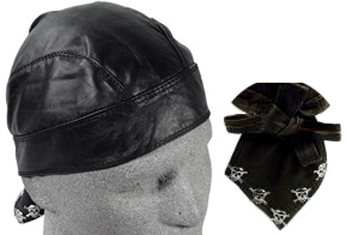 Black with Skull Pins, Leather Headwrap